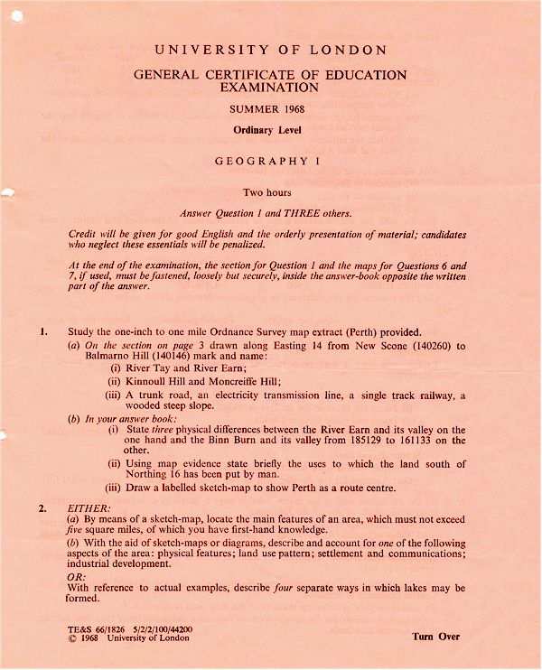 JRGS Kevin O'Brien CGE O-Level Papers