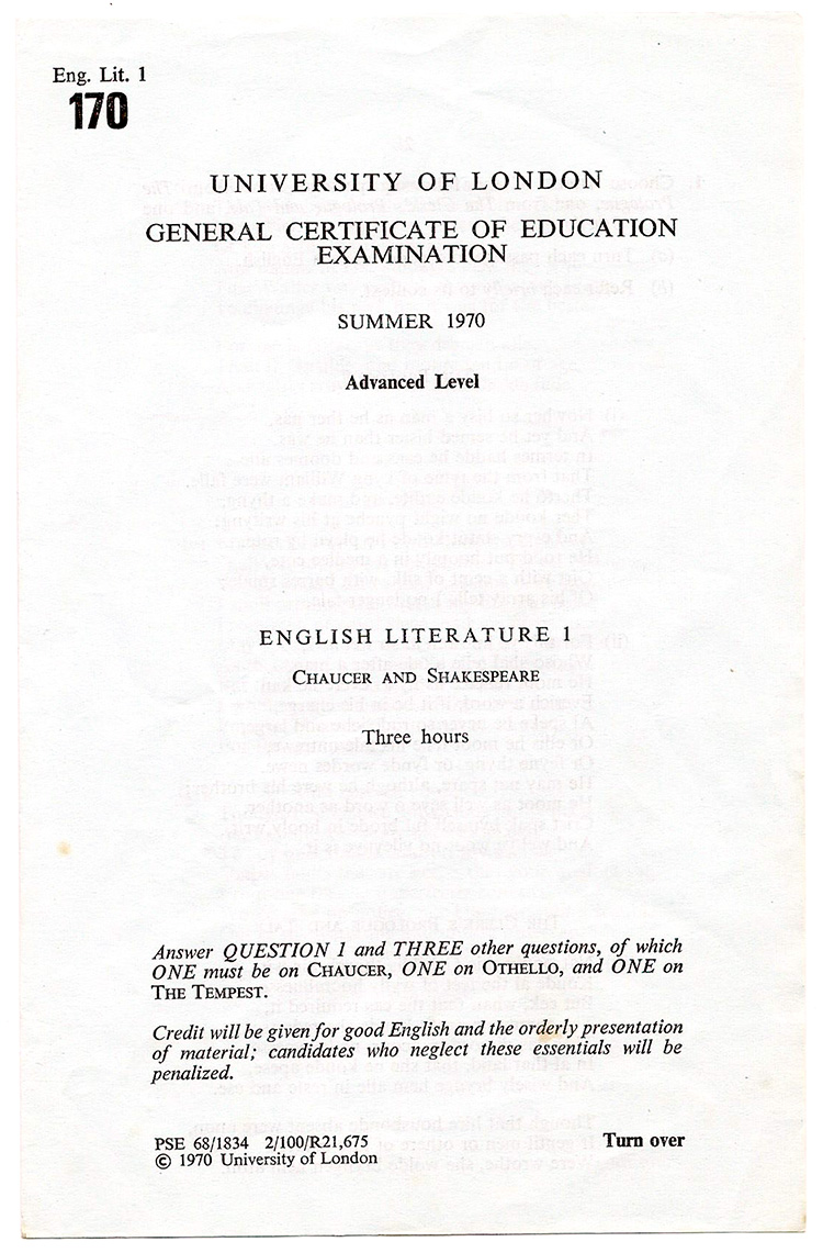 JRGS GCE A-Level exmaination papers from June 1970